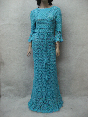 Crochet maxi dress handmade maxi dress Crochet turquoise lacy dress Handmade cotton Dress Crocheted Beachwear,crochet turquoise garment