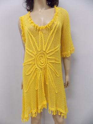 Crocheted Yellow Tunic, KNITTED Canary Tunic, Beach Women dress,One Sleeve Summer Tunic,BOHO crocheted Dress, Lacy Tunic