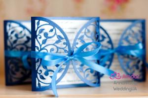 Quinceanera invitation, blue carved invitations with White Ribbon, Cut Wedding Invitation, Romantic Invitation, Custom Printing, pretty card