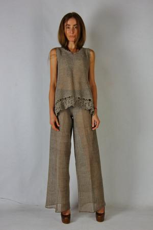 Crochet costume Crocheted Linen gray Summer Costume grey Knitted Maxi Costume Crochet tank top, crochet linen pants linen lacy ensemble