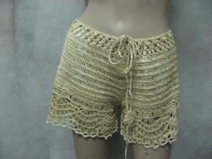Crochet yellow shorts daffodil handmade linen shorts beach lacy pants summer swimwear handmade bikini coral resort shorts,lowrise shorts
