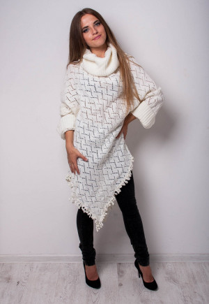 Knitted sweater Alpaca ivory SWEATER  Woolen Winter pullover Glamour Handmade Sweater Loose Tunic crochet sweater Knitted white Poncho
