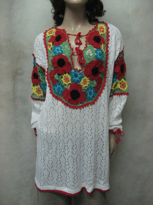 Crocheted Ethnic Tunic, KNITTED White Tunic, CROCHETED Women tunic, Colourful Flower Tunic,BOHO crocheted top , Lacy Crocheted Tunic