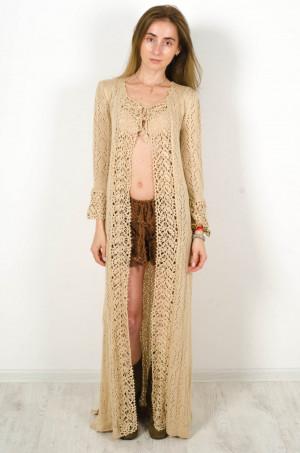Crochet beige cardigan, crochet dress lace nude cardigan, Maxi Summer dress Handmade Cardigan Crochet Wraparound Cardigan Cross over dress