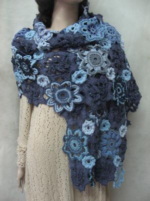 Crochet shawl irish lace Boho Crochet shawl Blue Lacy Scarf Bohemian Handmade navy Scarf Woolen Wrap Crochet LACY Wrap Lacy Crocheted Shawl