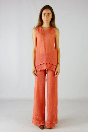 Crochet costume Crocheted Linen Blush Summer Costume coral Knitted Maxi Costume Crochet tank top, crochet linen pants linen lacy ensemble