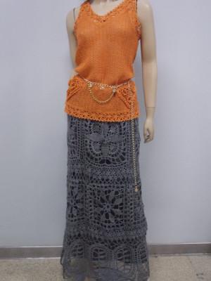Iron-gray crochet linen skirt, Trendy crochet skirt, Boho Handmade Rustic Skirt, Maxi linen skirt