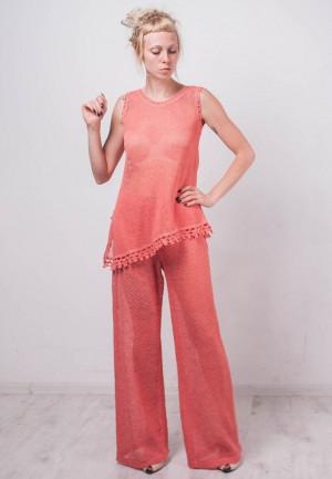 Crochet linen costume Crochet Linen coral summer Costume Knit beachwear Costume Crochet tank top crochet linen pants linen lacy ensemble