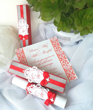 Red wedding invitations with silver glitter, Scroll in a box with Customized Initials