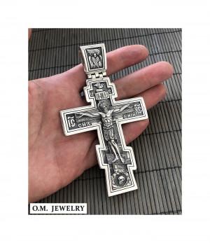 Big and Heavy Christian Orthodox Crucifix Jesus Cross Russian Greek 925 sterling silver pendant men