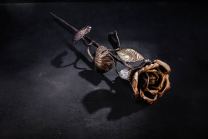 Blacksmith  Metal rose Steel rose Steel Sculpture Iron Rose  6th Anniversary Gift for wife Forged flower sculpture Forged steel flowers