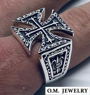 Templar cross ring mens 925 sterling silver, fleur de lis ring gift