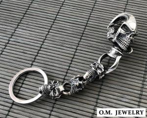 Amazing big skull sterling silver keychain mens handmade/biker skull men key chain heavy silver