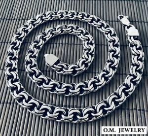 Byazntine woven mens solid 925 sterling silver necklace heavy wide chain bismark garibaldi gift