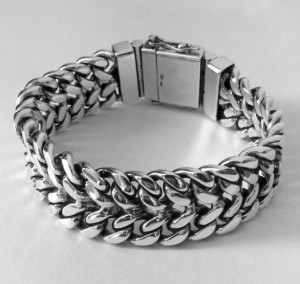 Curb mens bracelet chain sterling silver woven  byzantine heavy wide box clasp