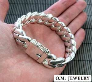 Curb men bracelet solid 925 sterling silver chain heavy wide links box clasp