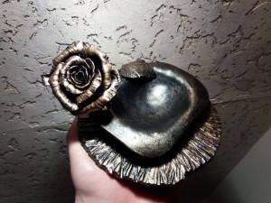 Forged Ring bowl Forged ring bowl Ring dish wedding gift Wedding day gifts Wedding day Metal rose Forged rose  Metal bowl Ring cushion