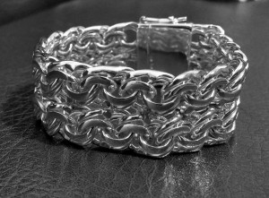 Bismark Mens bracelet chain sterling silver woven  byzantine heavy wide box clasp