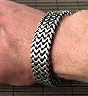 Double curb byzantine bracelet chain sterling silver box heavy wide box clasp black oxidized