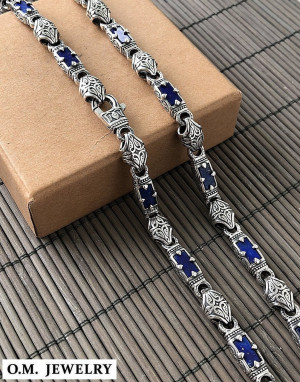 lapis lazuli artisan mens handmade solid sterling silver 925 necklace chain crown royal blue stone pattern gift