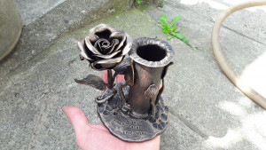 Pencil holder, forged pencil holder, metal holder, office organization, pencil, gift for her, metal rose, pencil stand, office gift, forge