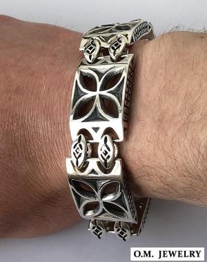 Cross bracelet men's 925 sterling silver handmade artisan templar gift box clasp
