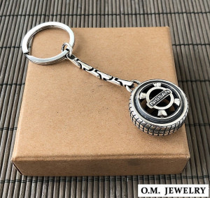 Nissan keychain ring sterling silver 925. car auto accessories men gift driver.