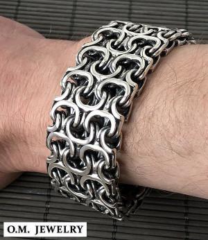 Byzantine woven men's 925 sterling silver bracelet, box clasp bracelet, heavy wide bracelet, gift for men