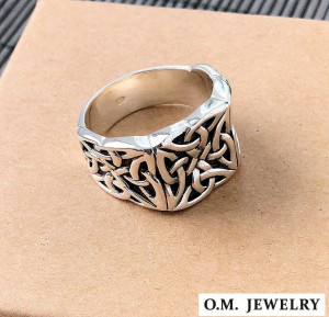 Celtic knot ring mens 925 sterling silver signet heavy