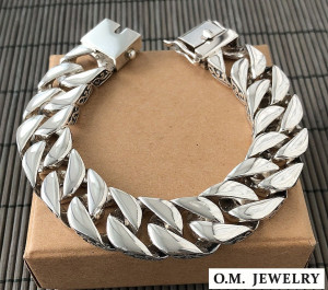 Heavy bracelet wide curb men's 925 sterling silver gift chain box clasp