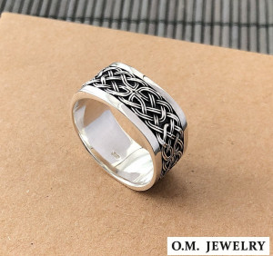 Celtic woven pattern ring mens 925 sterling silver signet heavy gift