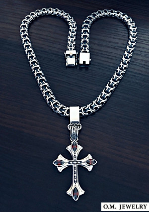 Renaissance cross and Kardinal necklace set heavy wide woven byzantine chain necklace pendant gift