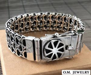 Mens bracelet double chain sterling silver woven byzantine heavy wide box clasp, sun symbol slavic kolovrat charm