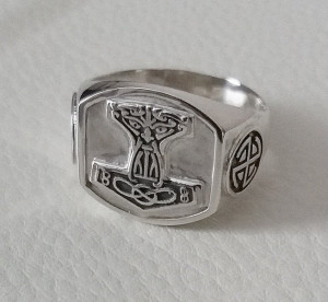 Thors ring mens 925 sterling silver, mjolnir ring, hummer thor ring, norse god