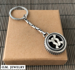Renault keychain ring sterling silver 925. car auto accessories men gift driver.