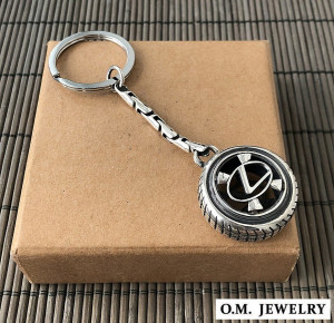 Lexus keychain ring sterling silver 925. Car auto accessories gift men.