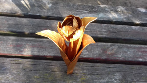 4 Year Anniversary, forged tulip, gold tulip, 4 year wedding, iron flower, iron anniversary gift, wedding gift, metal sculpture