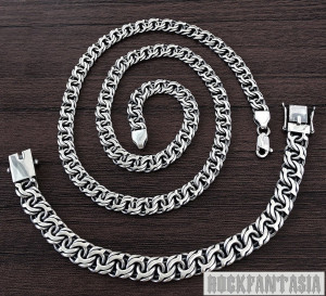Set byzantine mens necklace bracelet solid 925 sterling silver chain woven.