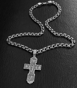 Christian Cross Russian heavy 925 sterling silver Greek orthodox Jesus pendant necklace bismark men