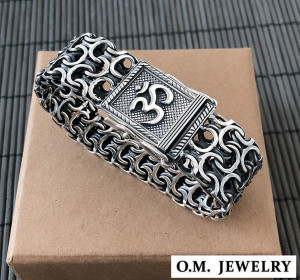 Mens bracelet double chain sterling silver woven byzantine heavy wide box clasp, om aum mantra symbol