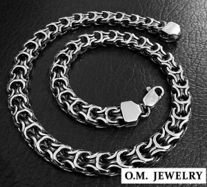Woven mens 925 sterling silver necklace heavy wide chain byzantine