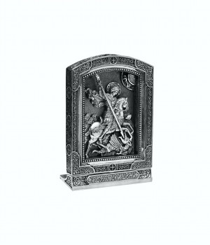 Saint George Victorious icon desktop table small sterling silver 925 christian orthodox russian greek, vip gift