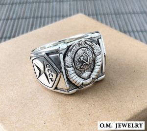 USSR Ring Solid 925 Sterling Silver Mens, Soviet Union сoat of arms, communist vintage ring, СССР кольцо мужское