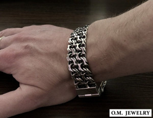 Double byzantine bracelet chain sterling silver woven heavy wide box clasp black oxidized