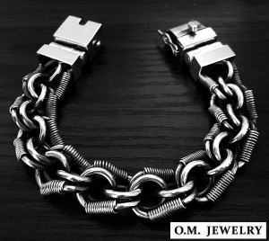 Big masculine brutal men's 925 sterling silver bracelet chain wide heavy box clasp, woven braided bracelet, byzantine chain gift