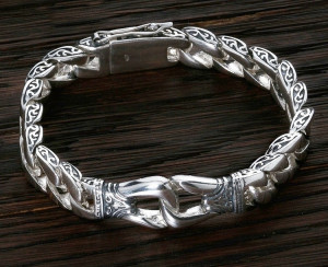 Curb sterling silver bracelet men celtic art boy gift