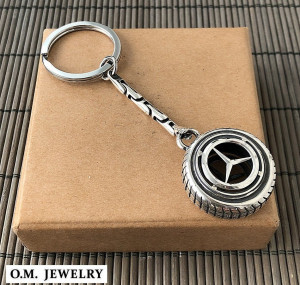 Mercedes keychain ring sterling silver 925. mercedes-benz car auto accessories gift men.