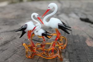 A Small Collection of Miniature Storks, Tiny Water Bird Glass Stork png, Nest Stork, Art Glass, Blown Glass stork, Glass Nest stork