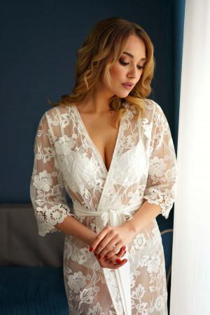 Long lace robe, Lace maxi robe, Boudoir robe ivory, Boho boudoir dress, Long sheer robe