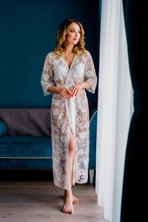 Lace bridal robe, sheer robe, ivory lace robe, bridal dressing gown, bridal lingerie, boho lace robe, french length robe, boudior dress